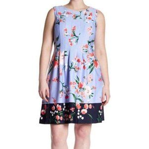 Vince Camuto Blue Floral Fit and Flare Dress 14
